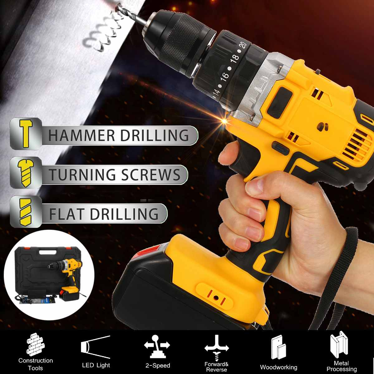 48V Max Home Electric Screwdriver Cordless Drill Lithium Battery Wireless Rechargeable Hand Drills DIY Electric Drill Power Tool Electric Drills    - AliExpress