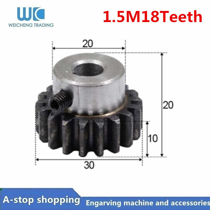 1 adet düz dişli raf pinyonu 18T 18 diş Mod 1.5M delik 8mm 10mm 12mm düz diş pozitif dişli 45 # çelik CNC iletim RC