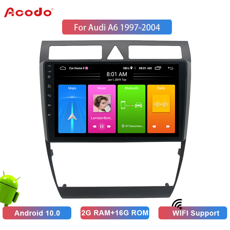 ACODO 2G RAM 16G ROM Android 10.0  Car Radio Multimedia Player For Audi A6 1997-2004 Navigation GPS 2 Din