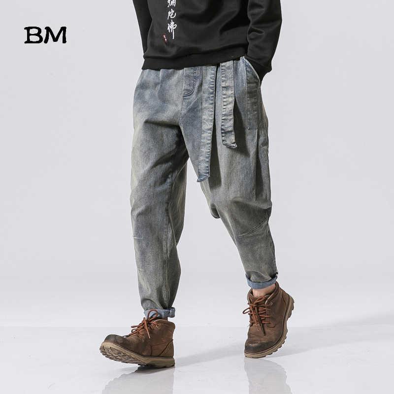 Уличная одежда, высокое качество, мужские свободные штаны, китайские, Ретро стиль, вареные, свободные, приталенные джинсы, хараджкуку, мешковатые штаны-шаровары для мужчин, 5XL