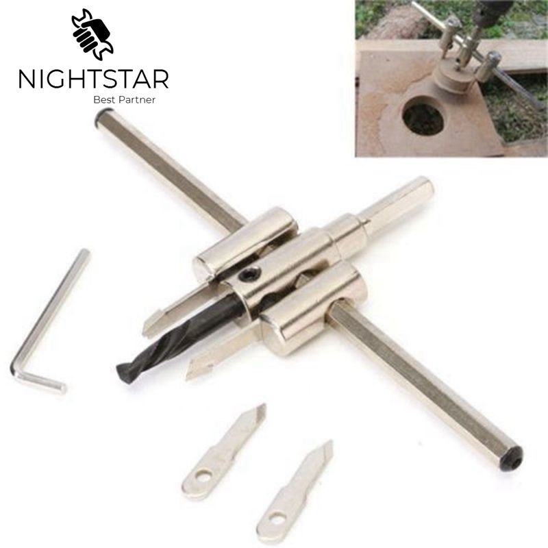 Alloy 120mm/200mm/300mm Adjustable Circle Hole Cutter Set With Wood Metal Hole Saw Drill Bit Tools For Woodworking