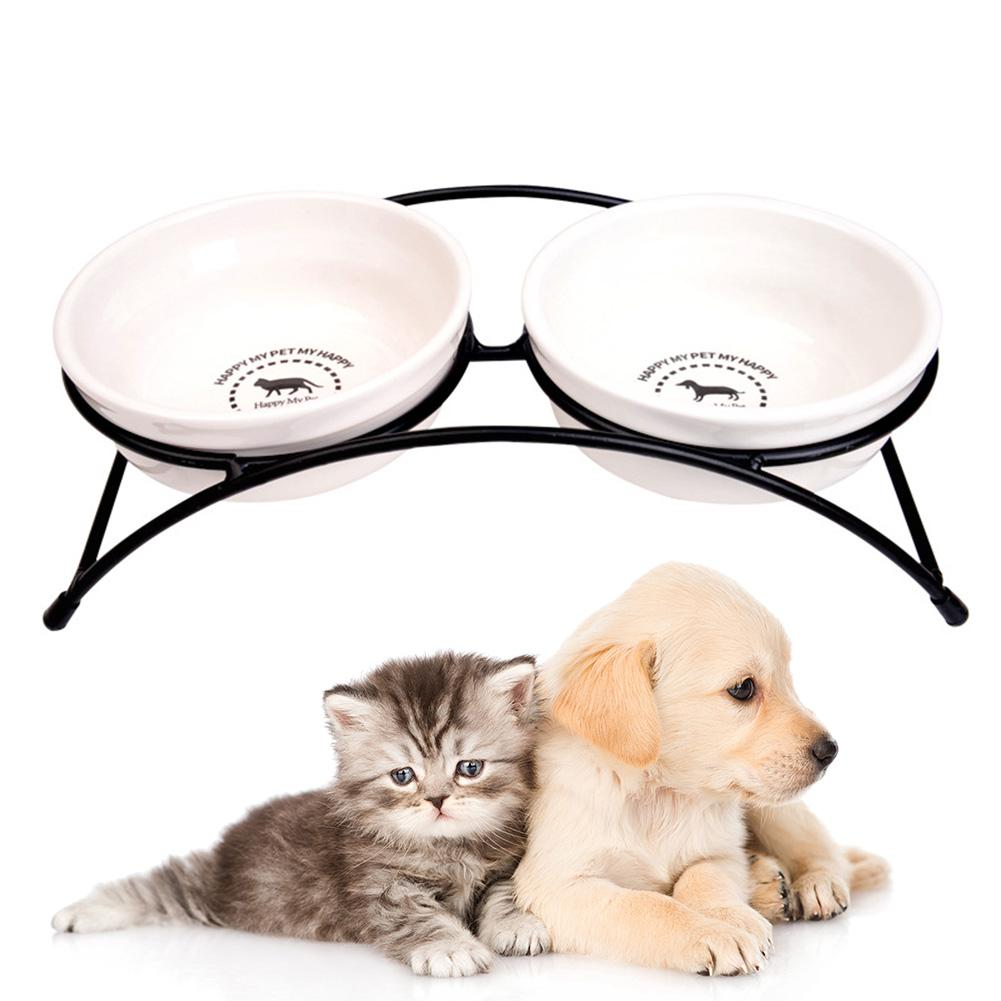 Elevated Dog Double Ceramics Bowl Pet Feeder Drinker Water Food Bowls For Dog Pet Cat Food Water Feeding Bowls Pet Accessories image