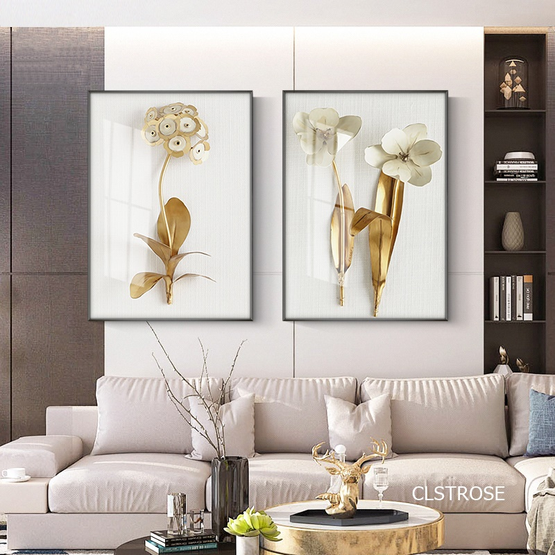 White Background Art Simple Golden Flowers Nordic Modern Style Posters Canvas Pictures For Living Room Decor Painting Unframed
