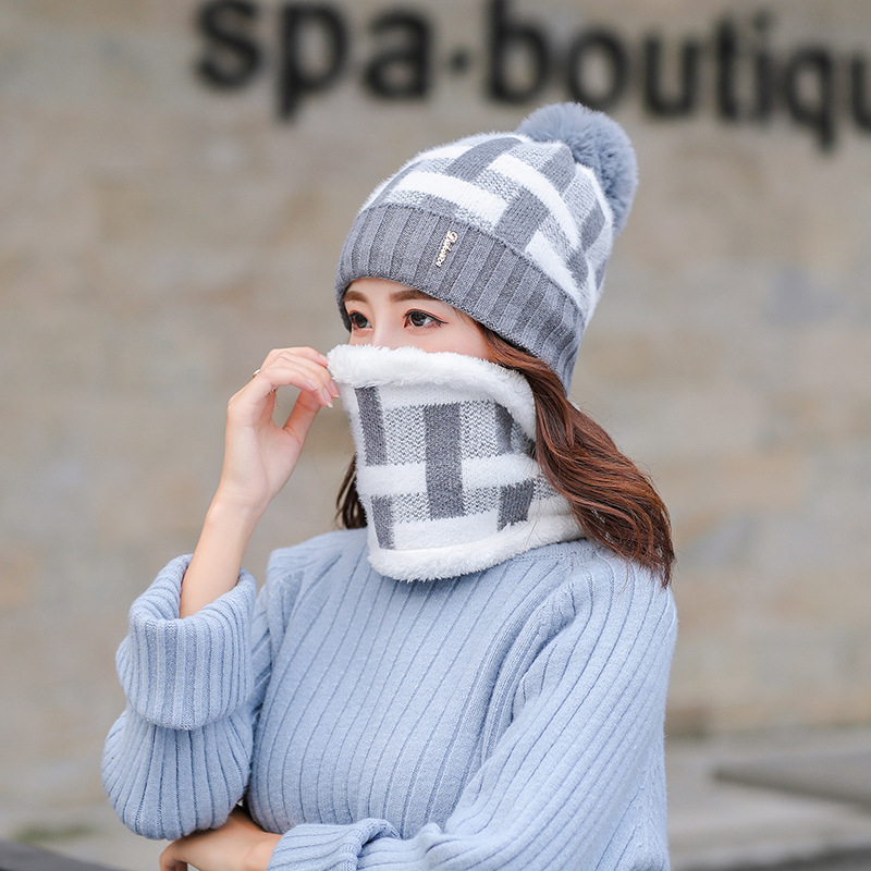Winter Hat And Scarf Set For Women Girl 's Knitted Hat Wool Ring Scarf Cotton Skullies Female Cap And Scarves 2019 Hot Selling