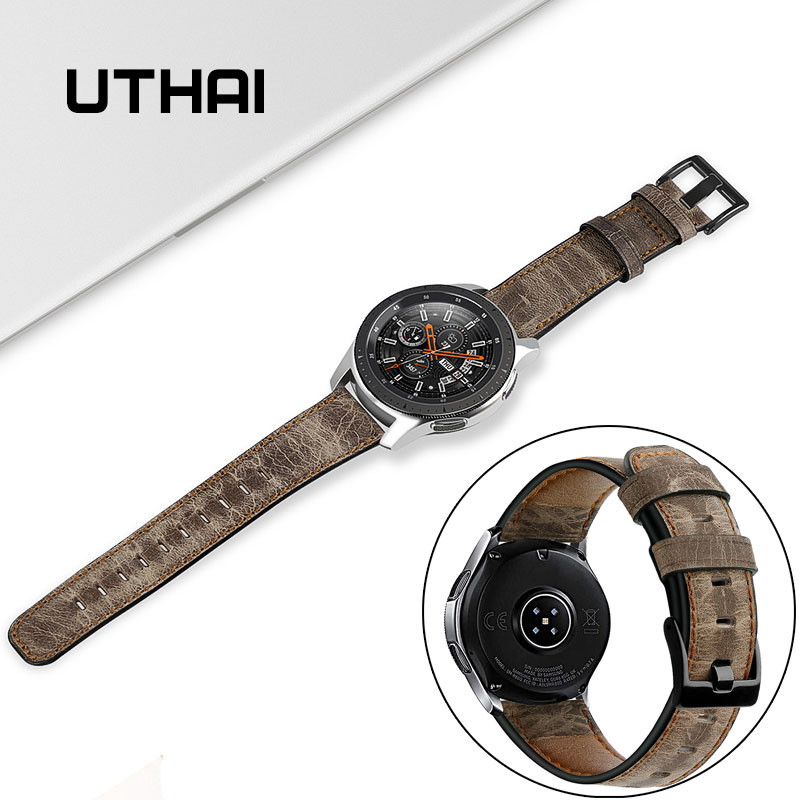 UTHAI Z31 Genuine Leather Watchband 22MM For Samsung Galaxy Watch 46mm Gear S4 Gear S3 For Amazfit Watch Strap Quick Release