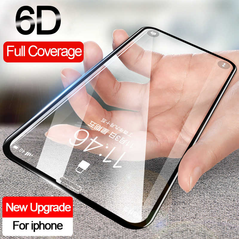 6D protective glass for iPhone 7 8 plus 6 6S X Full Cover screen protector glass iPhone 11 pro XR XS MAX Screen protection Glass