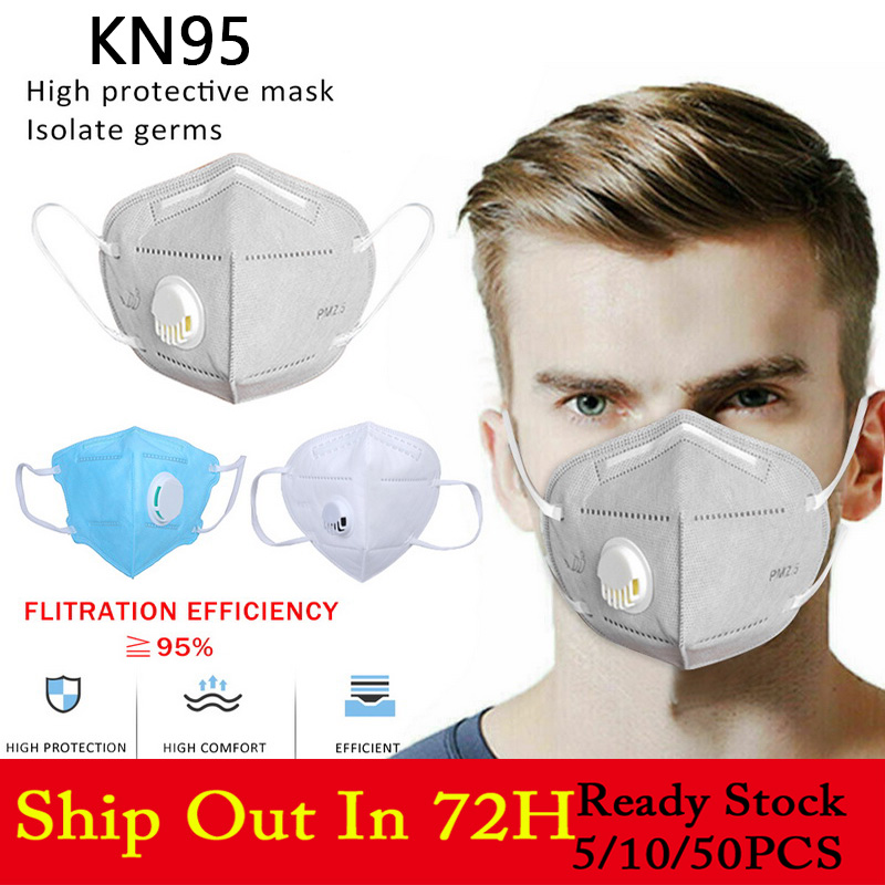 KN95 Face Mask Dustproof Windproof Respirator Valve PM 2.5 Respirator Mask With Breath Valve Anti-Dust Pollution Mouth Mask