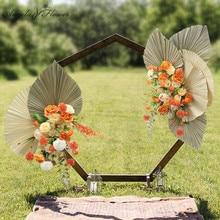 Hot Artificial Dried Flower Large Fan Leaf Plants Flower Arrangement Wedding Background Decor Arch Flower Row Party Event Props