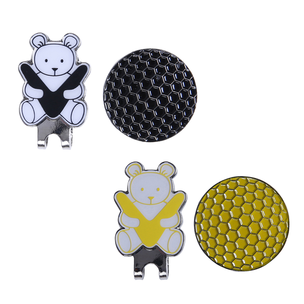 Golf Hat Clip With Detachable Magnetic Golf Ball Marker Bear Pattern Personalized Golf Hat Clips Golf Equipment Golf Accessories