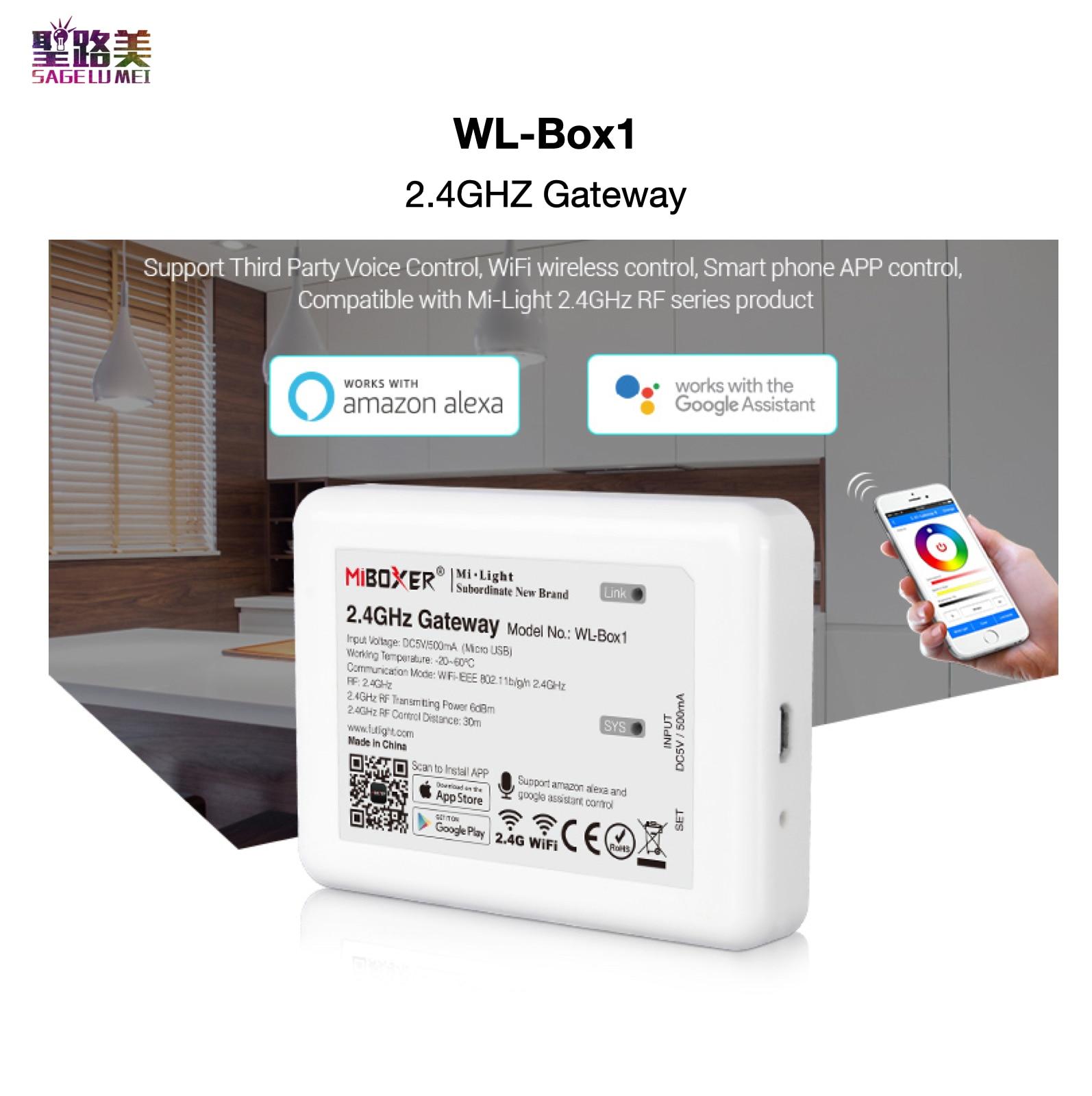 WL-Box1 2.4GHz Gateway APP / WiFi / Third Party Voice Control Compatible With Mi-Light 2.4GHz RF Series Product MiBOXER Mi-Light