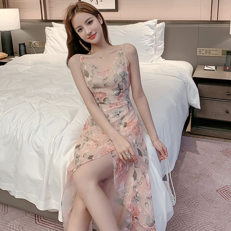 EAD 2020 Summer New Korean Sweet Pink Printed Sleeveless Dress Female Split Sexy Temperament Slim Strap Chiffon Dress Large Size