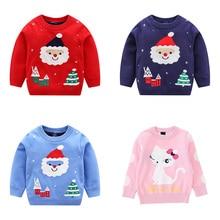 Рождественский свитер для детей; Новинка; Хлопковый вязаный пуловер с круглым вырезом и длинными рукавами для мальчиков; милый Рождественский свитер с рисунком для девочек