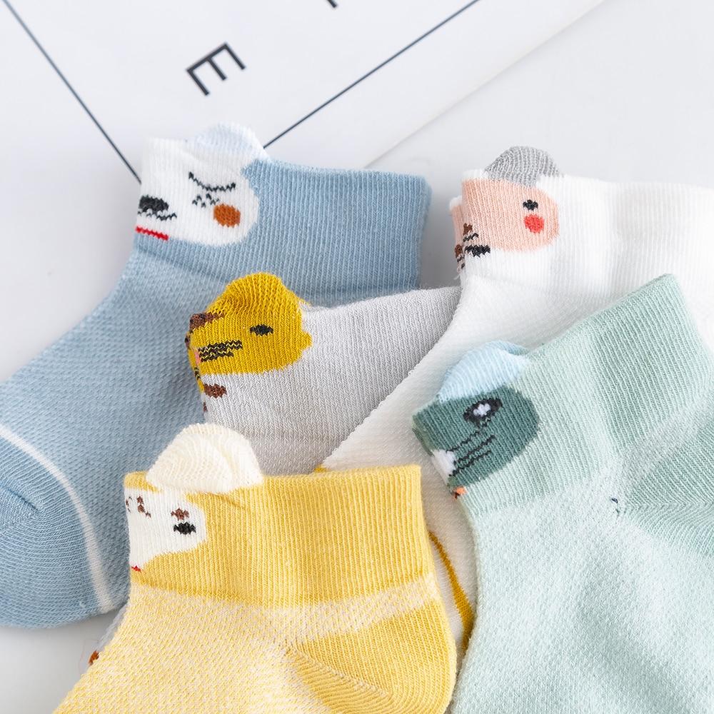 5Pairs/lot 2-9Y Kids Socks Summer Cotton 3D Cartoon Animal Kids Socks Girls Mesh Cute Newborn Boy Toddler Baby Socks 4