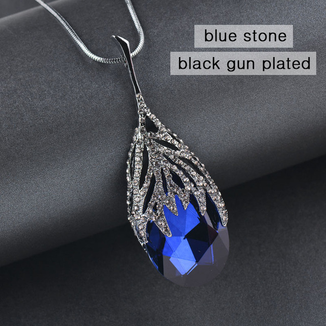 SINLEERY Fashion Waterdrop Shaped Big Pendant Necklace With Blue Cubic Zirconia Jewelry For Women Clothes Accessories MY117 SSB