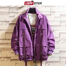 LAPPSTERผู้ชายStreetwear Hip Hopเสื้อแจ็คเก็ต 2020 Man Harajukuริบบิ้นกระเป๋าWindbreakerเกาหลีแฟชั่นเสื้อผ้าPlusขนาด