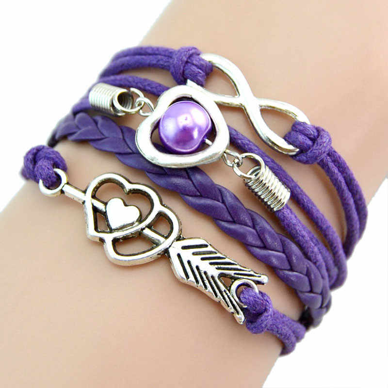 Love hearts pearl infinity Multilayer Charm Leather Bracelets Gift pulseras mujer moda 2019 bransoletki damskie armband браслет