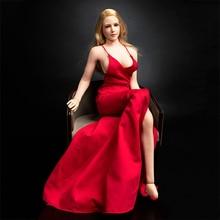Женское вечернее платье, красное платье с глубоким V-образным вырезом на бретельках, модель одежды тим067, подходит для фигуры 12 дюймов, 1/6