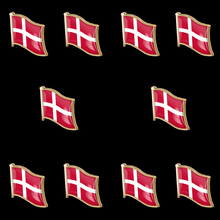 10PCS Denmark Waving Epoxy Flag Hat/Bag/ Lapel Pin Brooch Wholesale Proudly Made in China
