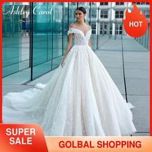 Ashley Carol koronkowe suknie ślubne linii 2020 Vestido De Noiva Sexy Sweetheart zroszony 3D kwiaty księżniczka Backless suknie panny młodej
