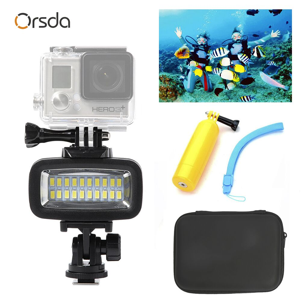 Orsda Gopro accessories LED 40m Underwater Waterproof Lamp gopro light led Video Flash Fill Light For SJCAM Xiaomi 700LM SL 100-in Sports Camcorder Cases from Consumer Electronics