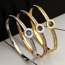 Luxury Brand Roman Crystal Round Bracelet For Women Jewelry Gold-Color Hollow Numerals Bangle & Bracelets Couple Gifts