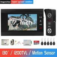 Interphone vidéo sonnette 1200TVL sonnette caméra Support interphone filaire déverrouillage à distance pour la sécurité à domicile système de contrôle d'accès Kit