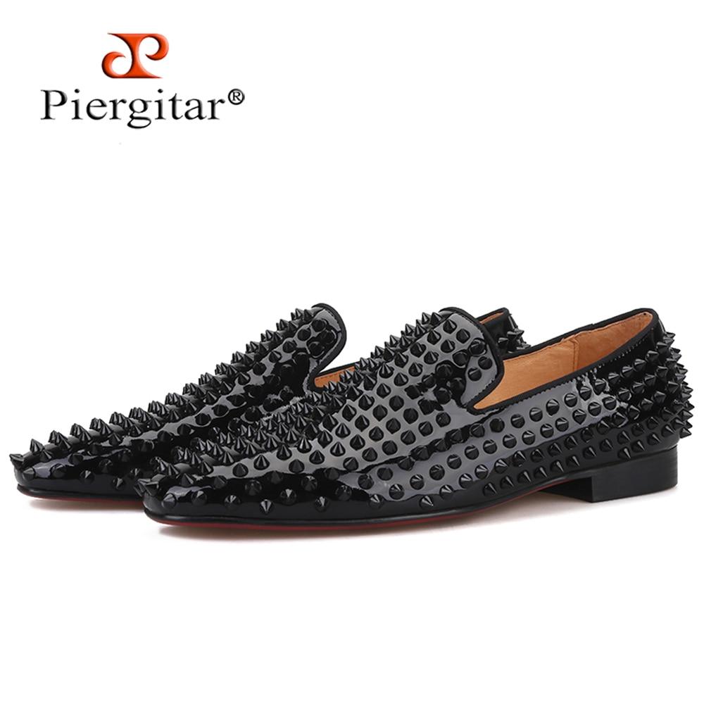Piergitar/Новинка 2020 года; мужские лоферы ручной работы с черными шипами; модные мужские шлепанцы для вечеринки и выпускного; мужская обувь на пл