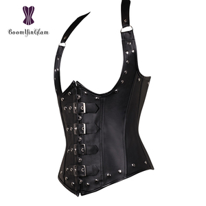 Image 5 - Plus Size Halter Neck Sexy Womens Faux Leather Steampunk Buckle Corset Vest Shapewear With G String 828#