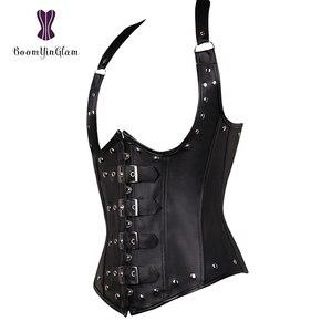 Image 5 - Plus rozmiar Halter szyi Sexy kobiet Faux Leather Steampunk klamra gorsetowa kamizelka Shapewear z G String 828 #