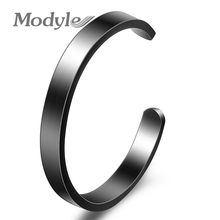 Modyle Fashion Black Stainless Steel Punk Vintage Cuff Bracelets Bangles for Men High Quality(China)