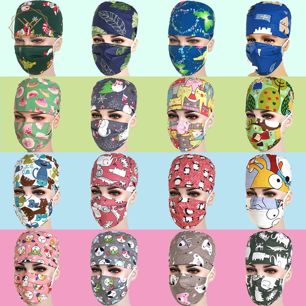 Unisex Medical Beauty Caps Dental Pet Hospital Beauty Salon Doctor Nurses Printing Scrub Hats Mask Medical Surgical Surgery Hat