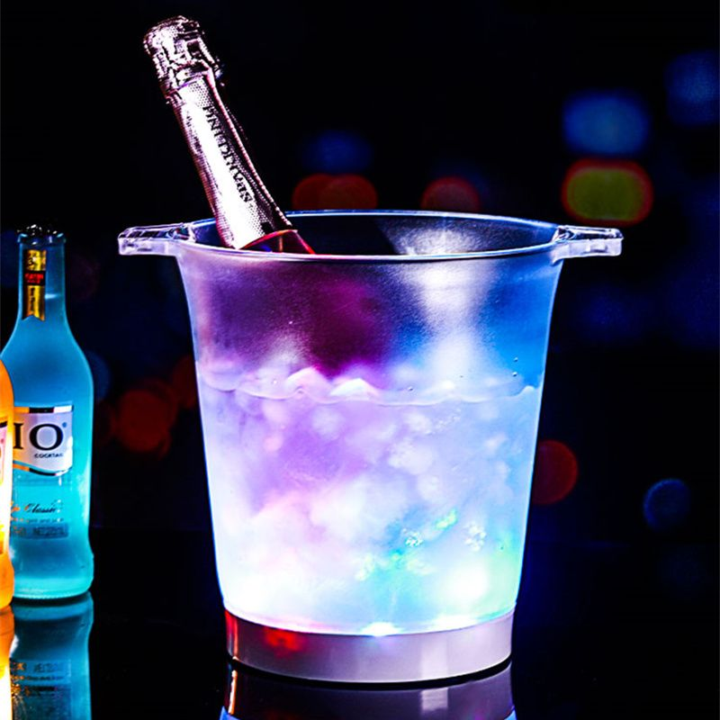 Colorful Circulation/Flashing Light LED Ice Bucket/Beer/Champagne/Red, Bar KTV Supplies 7 Colors of Wine Acrylic