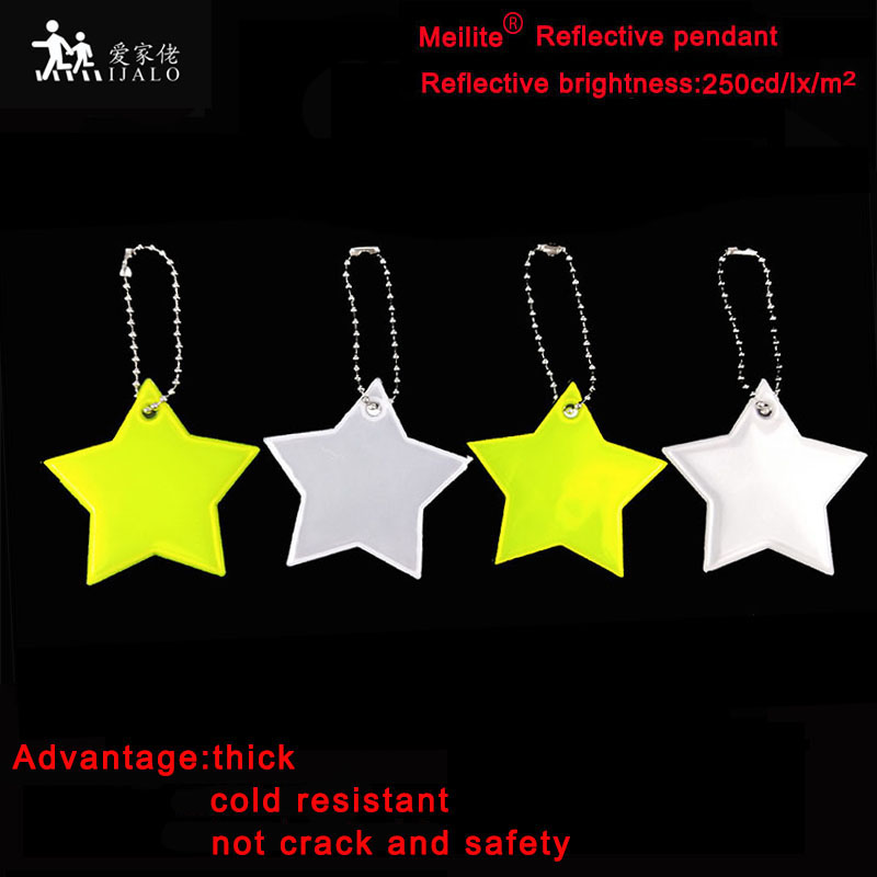 Meilite  Material 250 Candle Lights Soft Pvc Star  Reflector Reflective Keychain Bag Pendant Accessories  For Traffic Safety