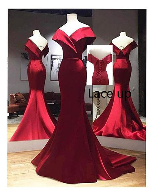 Real Photos Burgundy Mermaid Prom Dresses for African Black Girls Off Shoulder Backless Satin Party Evening Gowns 2