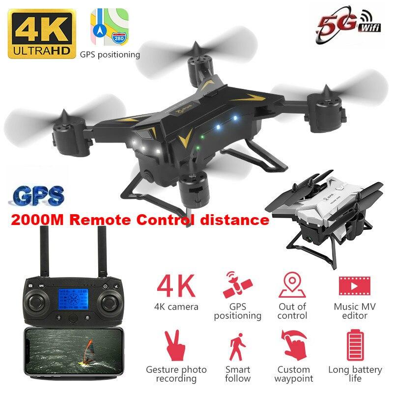 2019 Дрон с GPS 4K RC вертолет Дрон с камерой 5G wifi FPV селфи Дрон Профессиональный Квадрокоптер 2000 метров Расстояние управления 20 минут Срок службы