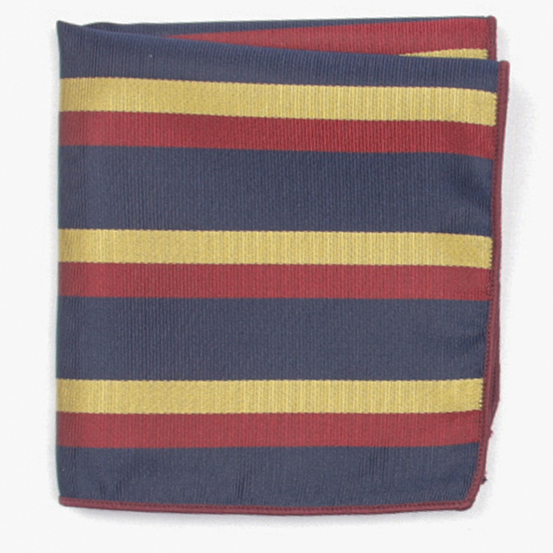 Navy Yellow Red Stripe Patterned Pocket Square With Patterns Handkerchief