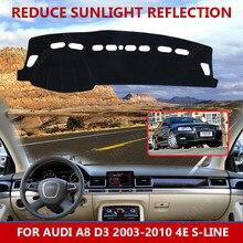 Dla Audi A8 D3 2003-2010 4E s-line Dashmats akcesoria do stylizacji samochodów pokrywa deski rozdzielczej Pad dywanik parasolka
