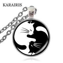 Винтажное ожерелье karairis в стиле ретро с двумя котами стеклянная