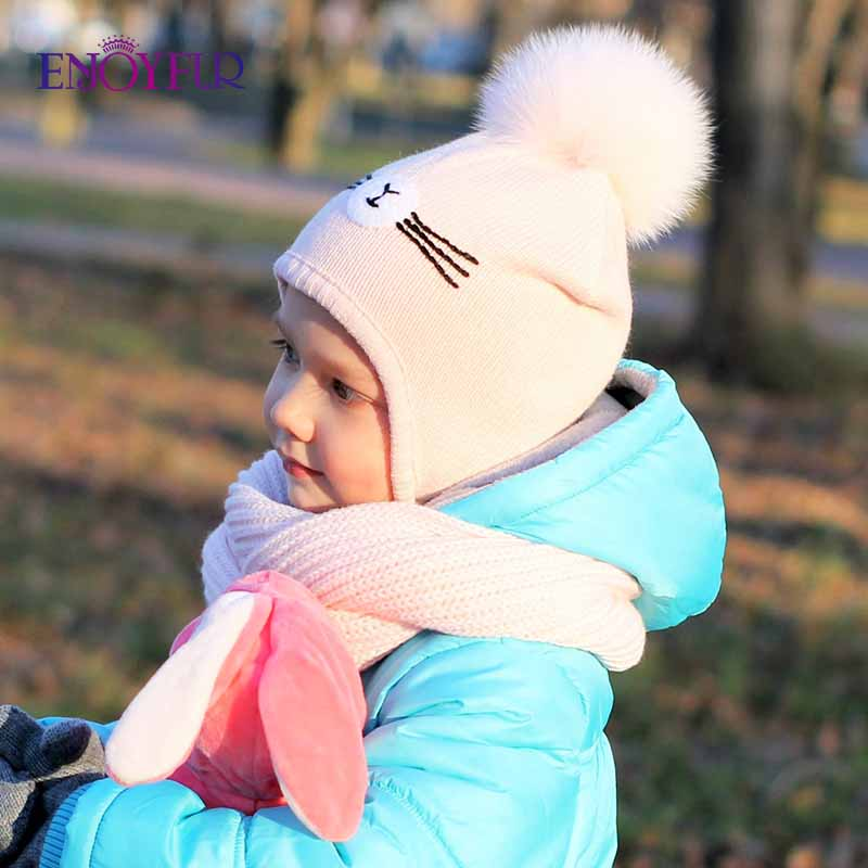 ENJOYFUR Winter Hats For Children Girls&Boys Fox Fur Pompom Kids Cap Cotton Warm Knitted Ears Beanies For 2-8 Ages