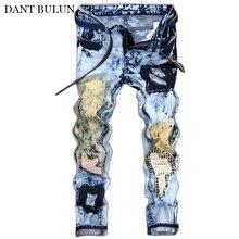 Мужские разорвал проблемных джинсы покроя джинсовые брюки мужской мода Slim-подходят цветные вышивка патчи хип-хоп уличная одежда пуловер