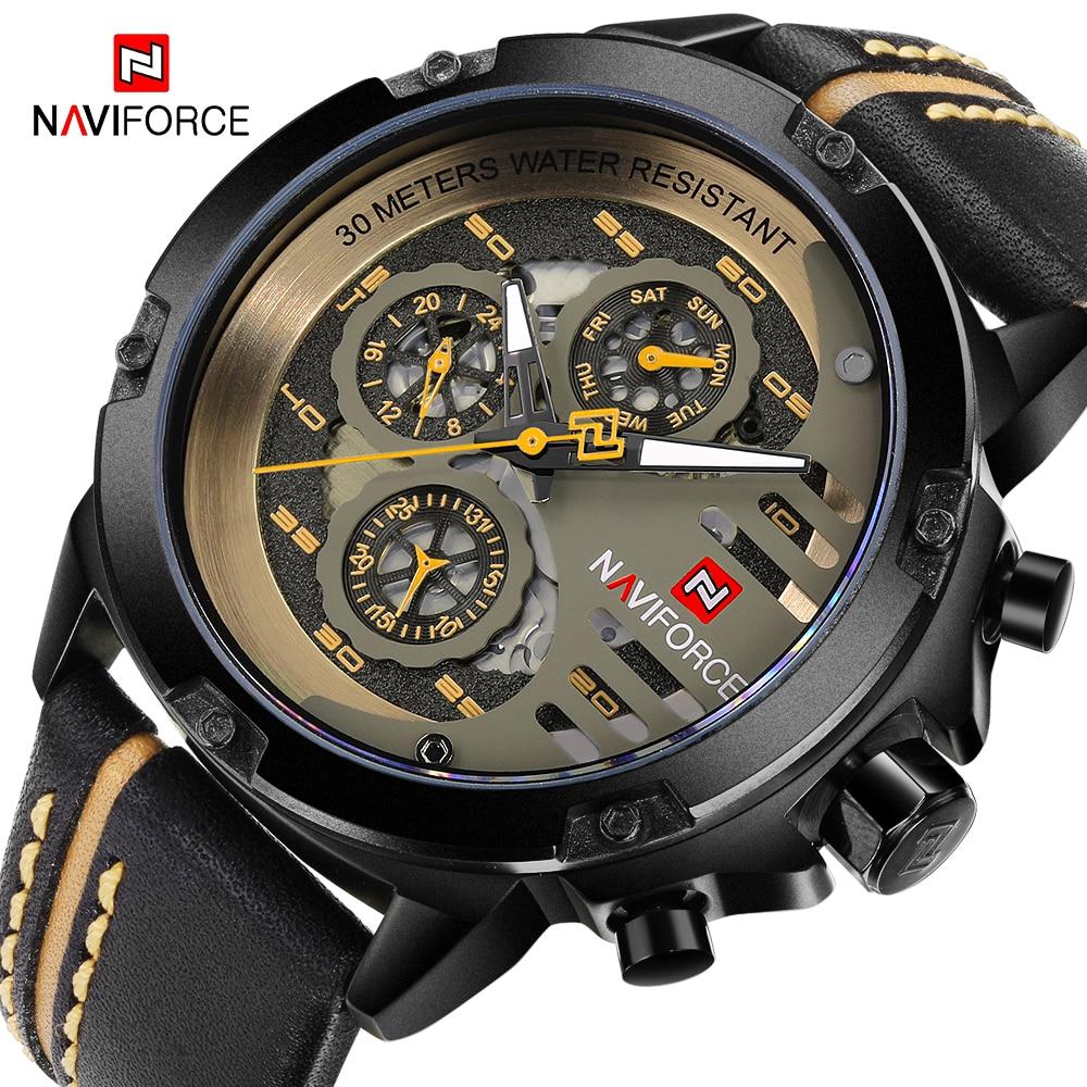 NAVIFORCE Mens Watches Genuine Leather Sport Wrist Watch Men Top Brand Luxury Waterproof 24 Hour Date Quartz Watch Reloj Hombre