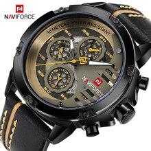 Naviforce homens relógios de couro genuíno esporte relógio de pulso masculino marca superior luxo à prova d24 água 24 horas data relógio de quartzo reloj hombre