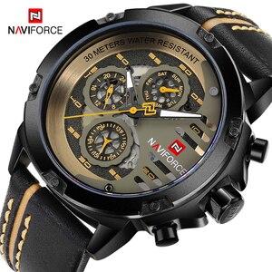 Image 1 - Naviforce homens relógios de couro genuíno esporte relógio de pulso masculino marca superior luxo à prova d24 água 24 horas data relógio de quartzo reloj hombre