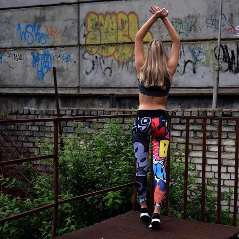 ผู้หญิงกางเกงโยคะ Fitness GYM กางเกง Leggings Jogging Bottoms พิมพ์สูงเอวกางเกงขายาว Push Up Sport Running Fitness