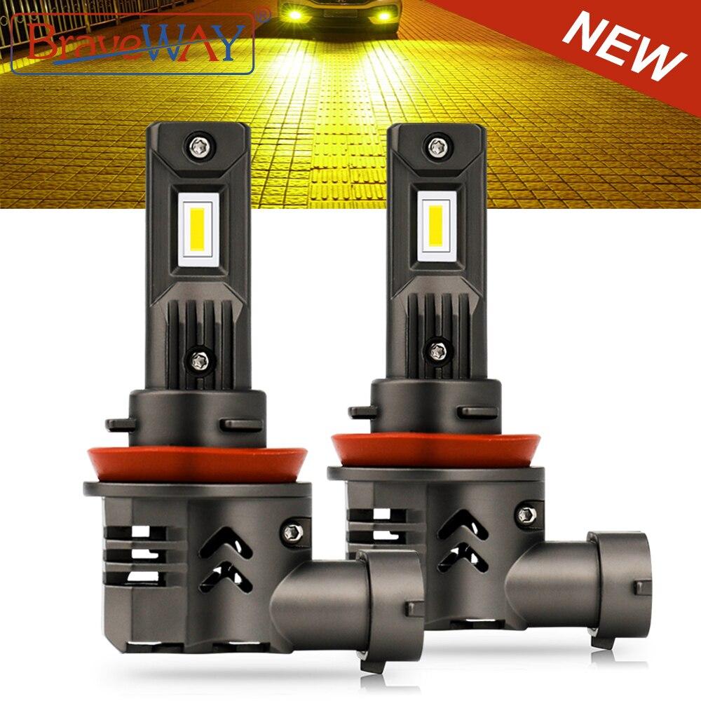 BraveWAY Yellow/White Fog Light LED H11/H16(JP) H1 H4 H7 H8 LED Bulb for Car 9005/HB3 9006/HB4 50W 16000LM 3000K/6000K Fog Lamp