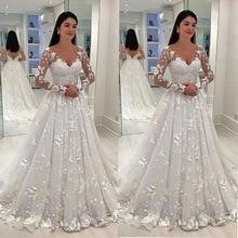 GY White Dress Deep V-neck Long Mesh Lace Sleeve A-line Pleated Floor-length Dresses Sexy Women Wedding vestidos de noiva