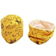 Новый Модный комплект с шапочкой для малышей, с рисунком Совы и звезд, весенние теплые детские вязаные шапки с воротником, хлопковые детские...