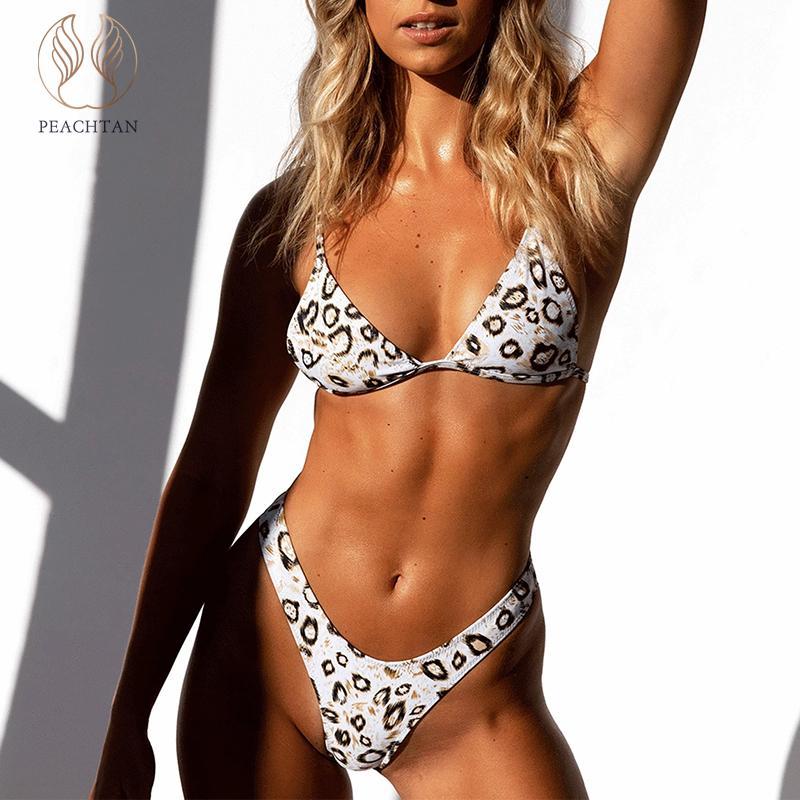 Peachtan Sexy Leopard Print Bikini Two Piece Suit High Cut Bathing Suit Triangle Swimsuit Female Push Up Swimwear Women Bathers