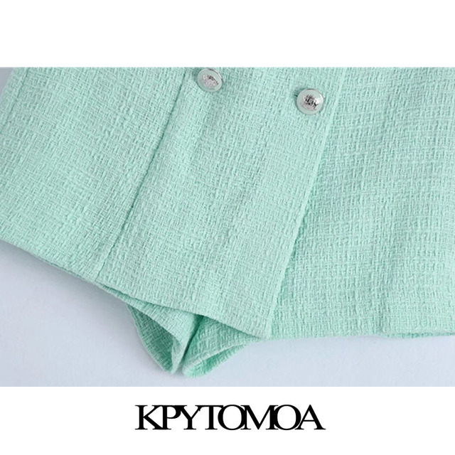 KPYTOMOA Women 2021 Chic Fashion With Buttons Tweed Shorts Skirts Vintage High Waist Side Zipper Female Skorts Mujer 6