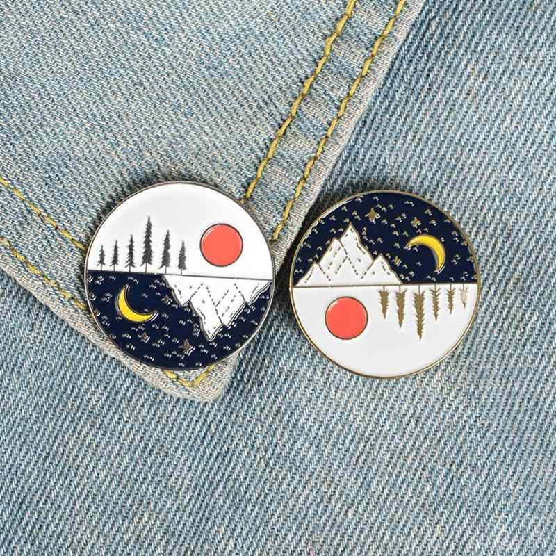 Creative Sun Moon Brooch Portable Practical Durable Delicate Design Badge Round Pins Jacket Shirts Ornament Jewelry Gifts